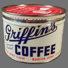 Vintage One Pound Griffen Key Wind Coffee Tin - Muskogee, Oklahoma 1# Tin