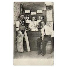 1913 Vintage Photograph Souvenir Postcard - Cowboys in a Western Saloon