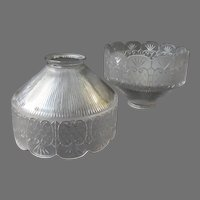 Fancy Vintage Light Fixture Shades with Wide Decorative Edge – 1908 Pair
