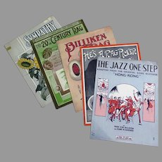 Five Pieces of Vintage Sheet Music – 5 Different Songs with Jazz & Ragtime