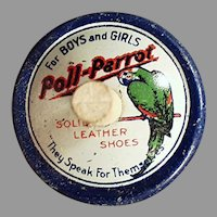 Vintage Poll-Parrot Shoes Advertising Spinning Top - Tin Toy Premium