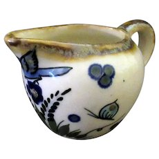 Vintage Mexican Pottery Pitcher with Blue Bird and Butterfly Design, Suro