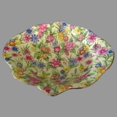 Small Vintage Royal Winton Chintz Bowl – Colorful Kew Pattern with Gold Trim