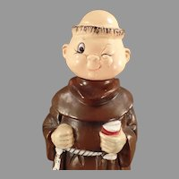 Vintage Ceramic Friar Monk Musical Decanter - Old Wind-up Music Box
