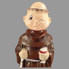 Vintage Ceramic Friar Monk Musical Decanter - Old Wind-up Music Box