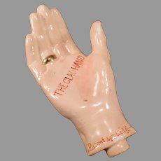 Vintage Porcelain Figural Flask – The Glad Hand with a Gold Ring Whiskey Nip