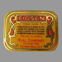 Small Vintage Laxative Tin – Old Figsen Medicine Advertising