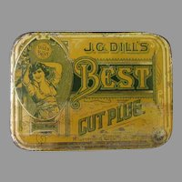 Vintage J.G. Dill's Best Cut Plug Tobacco Tin with Hinged Lid