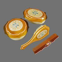 Vintage Celluloid Dresser Set, 2 Covered Boxes with Fabric Inserts, Matching Brush and Comb