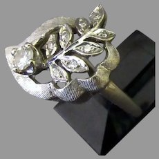 Ladies Vintage 14k White Gold and Diamond Cocktail Ring, Size 5