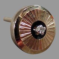 Vintage Anson Karatclad Tie Tack, Classic Goldtone Design with Diamond Chip