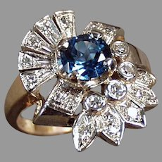 Ladies Vintage 14k Gold Cocktail Ring with Blue Topaz and Diamonds, Size 7+