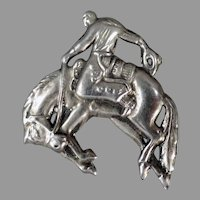 Vintage Bucking Bronco Cowboy Themed Costume Jewelry Lapel Pin with Nice Detail