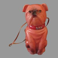 Vintage Celluloid Bulldog Candy Container Christmas Ornament Novelty