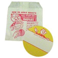 Vintage Reddy Kilowatt E-Z Stick-On Identification Name Badge