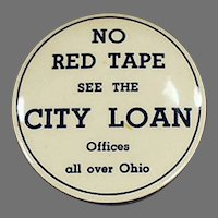 Vintage Celluloid Advertising Tape Measure - City Loan of Ohio and No Red Tape