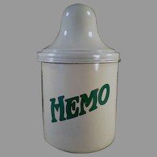 Vintage Soda Fountain Backbar Malt Canister with Lid - Porcelain Thompson's Hemo