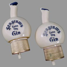 Vintage Seagram's Gin Advertising Bottle Stoppers Pour Caps