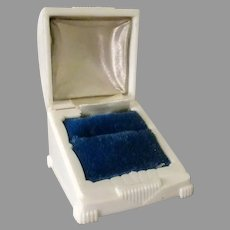 Vintage, Early White Plastic Ring Box with Rich Turquoise Blue Insert