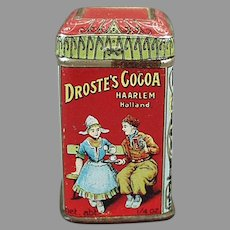 Tiny Vintage Cocoa Sample Tin - Colorful Droste Miniature Advertising Can