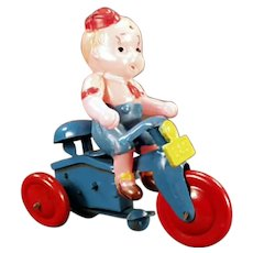 Vintage Occupied Japan Celluloid Toy - Wind-up Boy on Tricycle O.J.