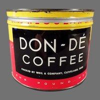 Vintage 1 Pound Keywind Don-De Coffee Tin - Weil and Co. Cleveland Ohio