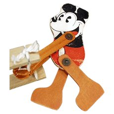 Vintage 1930's Pie-eyed Mickey Mouse Toy - Wood Trapeze, Walt Disney Copyright