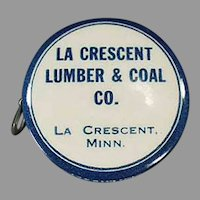 Vintage Celluloid Advertising Tape Measure - Minnesota La Crescent Lumber & Coal