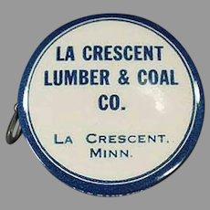 Vintage Celluloid Advertising Tape Measure - Minnesota La Crescent Lumber & Coal