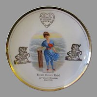 Vintage Herald Square Hotel Advertising Plate with Victorian Bathing Beauty Scene