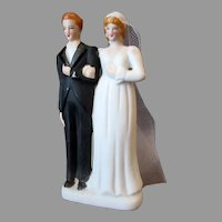 Small Vintage Bride with Veil and Groom Wedding Cake Topper - Occupied Japan