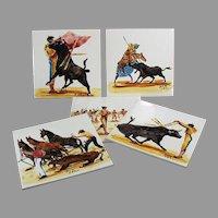 Five Vintage Art Tiles with Beautiful Bullfighting Scenes - Made in England