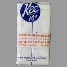 Men's Vintage Kee Handkerchiefs with Wrigley's Chewing Gum Advertising Packaging
