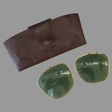 Vintage Clip-on, Green Tinted Eye Glasses