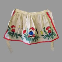 Vintage Christmas Kitchen Apron - Hand Painted Holiday Design – Gerda Nordby Denmark