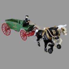 Vintage Kenton Cast Iron Horse Drawn Sand & Gravel Toy - Nice Original Paint