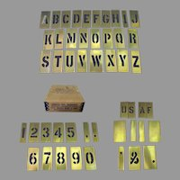 Vintage Stencil Set – Lockedge Brass - Complete Letters, Numbers & More 1 ½""