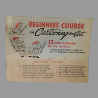 Vintage 1968 Beginner's Course in Cartooning and Art Lesson Booklet – Leo Egli