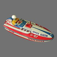 Vintage Japanese Tin Speed Queen Toy Race Boat – Siren Wind-up Motor