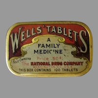 Vintage National Drug Co. Wells' Laxative Medicine Tin - Old Medical Advertising