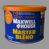 Vintage Maxwell House Master Blend Trial Size Coffee Tin with Original Lid, 1980's