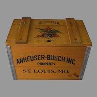 Vintage Miniature Anheuser Busch Budweiser Beer Crate Advertising Wooden Box