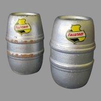 Vintage Miniature Falstaff Beer Barrels – Silver Wood Advertising Beer Kegs