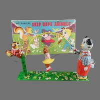 Vintage T.P.S. Japanese Tin Wind-up Toy - Skip Rope Animals Toy with Original Box