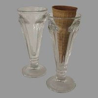 Two Vintage Ice Cream Cone Glasses - Not Parfait Glasses!