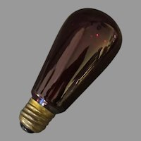 Vintage Electric Light Bulb – Ruby Red with Fine Filament - Works