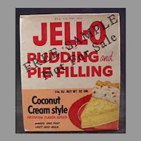 Vintage Sample Jell-O Box - 1950's Coconut Cream Pudding and Pie Filling Box, Unopened