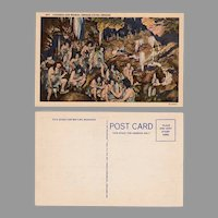 Vintage Souvenir Postcard - Oregon Caves with Cave Men and Women