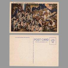 Vintage Souvenir Postcard - Oregon Caves with Cave Men and Women