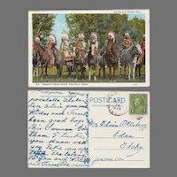 Vintage Oregon Trail Souvenir Postcard with Bannock Indians, Pocatello Idaho